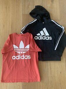 Adidas Boys Youth Lot (2) Zip Hoodie Black Medium, Tee Large Coral EUC