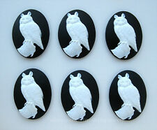 40mm x 30mm Costume Jewelry craft Cameos 6 new unset White Horned Owl on Black