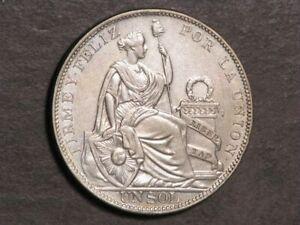 PERU 1925 1 Sol Silver Crown XF-AU