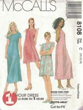McCall's 8108 Misses Dress in 2 Lengths Petite Options 1 Hour Dress 10-14 New