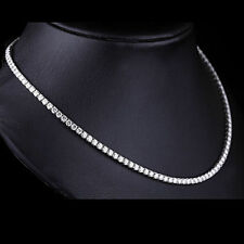 """4 mm Round Moissanite 10k White Gold One Line  20"""" Tennis Necklace for Women's"""