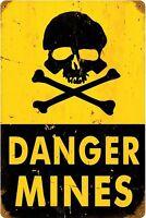 Pericolo Mines Arrugginiti Insegna Acciaio 450mm x 300mm (Pst)