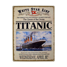 Vintage Metal Plaque RMS Titanic British Ship Boat Advertising Poster Wall Sign