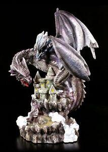 Drachen Figur - Sirus auf Schloss - Burg Fantasy Statue Deko