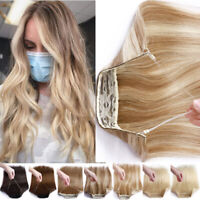 THICK Real Remy Human Hair Hidden Crown Halos Invisible Wire In Wefts Extensions