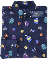FLAW NEW $125 Polo Ralph Lauren Long Sleeve College Shirt Mens Navy Blue Oxford
