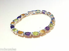 """NEW! 7"""" Sterling Silver Bracelet w/ Natural Amethyst, Peridot, Citrine 14.04ct"""