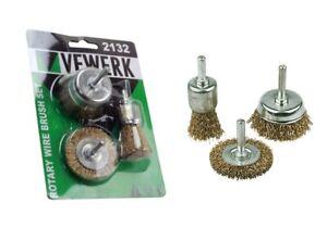 Vewerk 3pc Rotary Wire Brush Set 6mm Shank Flat Cup End Brush Prep Kit 2132
