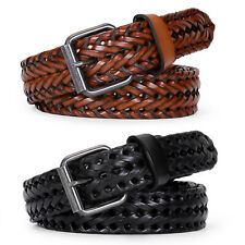 Mens Belts Genuine Leather Woven Braided Leather Dress Casual Breathable Belt US