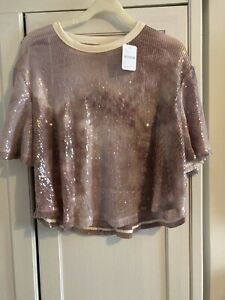 Free People Lavendar Sequinned Open Back Top Small New With Tags