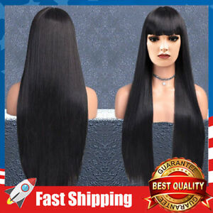 """Girl's Replacement Wig Natural Black Long Straight Costume Hair Wigs 32"""""""