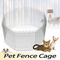 8 Panel Foldable Pet Fence Cage Run Playpen for Small Pets Puppy Rabbit