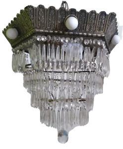 Antique Art Deco Silver Wedding Cake Crystal Chandelier 9 Light Octagon