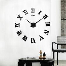3D/DIY Extra Large Roman Numerals Luxury Mirror Wall Sticker Clock Home Decor UK