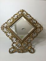 Rare Antique Victorian Diamond Shape Cast Iron Rococco Easel Back Frame Mirror