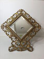 Rare Antique Victorian Diamond Shape Cast Iron Rococco Easel Back Frame Mirror