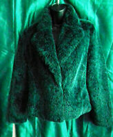 stunning teale Oasis faux fur jacket,fitted, collars,lined,pockets,size 10uk