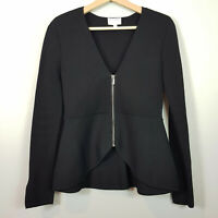 [ WITCHERY ] Womens Peplum Milano Black Zip Jacket  | Size XS or AU 8