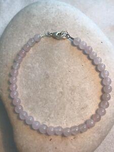 Rose Quartz 4 mm Beads - Women Bracelet - 925 Sterling Silver - Free UK P&P
