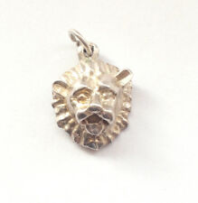 Vintage 925 Fine Sterling Silver Lion Face Pendant Charm Sailor Cat Safari Zion