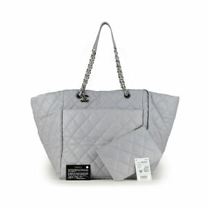 CHANEL Weekend on Mars Grey Quilted Leather 30 CM Large Bag GST Shopping Tote