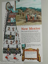 1957 NEW MEXICO State Tourism advertisement, Taos Pueblo, Zuni native costume