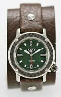 Fossil Watch Men Green Stainless Steel Silver Leather Brown Wide 100m Quartz