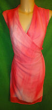 Tahari Women SZ M Pink Sleeveless Knee Length MOCK Wrap Sheath Dress SRP $148