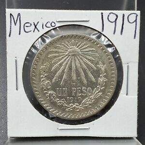1919 Mexico Un Peso CAP RAYS Silver Coin CHOICE AU About UNC KEY DATE