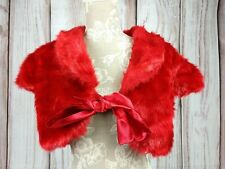 Vintage Faux Fur Shrug Shawl Bolero Red Medium