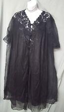 "Ventura Sexy Black Nightgown Robe Lace Sheer Size MEDIUM  42"" BUST"