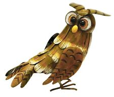 Owl Garden Ornament HAND PAINTED! Figurine Statue Outdoors Patio Lawn Metal