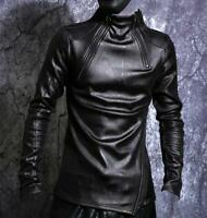 Mens Pu Leather Coat Pullover Shirts Punk Thicken Casual Long Sleeve Warm Tops