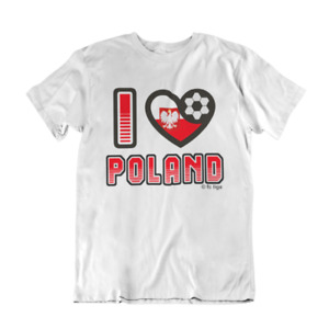 Adult or Kids I LOVE POLAND Football Top TShirt 2021 Polish Euro Shipping