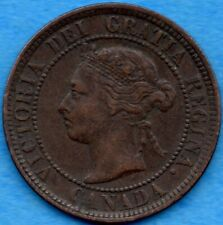 Canada 1884 1 Cent One Large Cent Coin - VF/EF