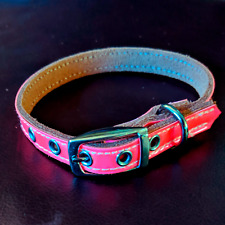 Cute Pink Dog Collar - Medium / Small | Genuine Leather Stainless Steel Buckle