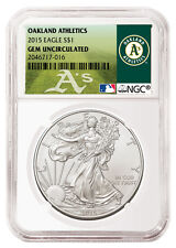 2015 1oz. Silver Eagle NGC Gem Unc MLB Baseball Oakland Athletics Label SKU36038