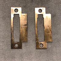2 Vintage Antique Brass/Bronze Door Mortise Lock Strike Plate Keeper Hardware