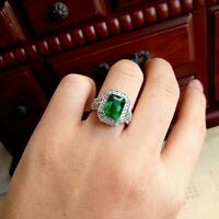 3Ct Emerald Green Emerald Halo Engagement Anniversary Ring 14K White Gold Finish