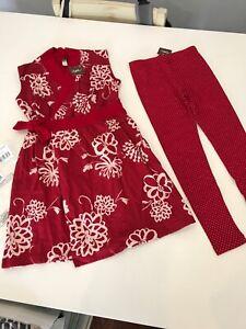 NWT 7 Yr Tea Collection Set Red Kira Kira Wrap Dress Pin Dot Leggings Outfit