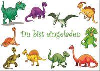 6 süsse Dino Dinosaurier-Einladungskarten zum Kindergeburtstag