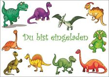 6 süsse Dinosaurier-Einladungskarten zum Kindergeburtstag oder Museumsbesuch
