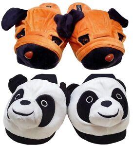 Damen Kinder Tierhausschuhe Hausschuhe Hunde Panda Pandabär Pantoffel Plüsch