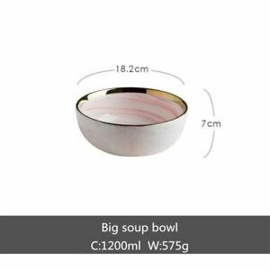 Pink Marble Dinner Plate Set Ceramic Kitchen Tableware Food Dish Rice Salad Bowl