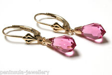 9ct Gold Pink Swarovski Crystal Elements LeverBack earrings Made in UK