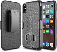 For iPhone X / Xs Case, Belt Clip Holster Slim Armor Cover + Built-In Kickstand