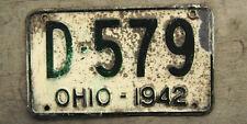 1942 OHIO LICENSE PLATE # D-579