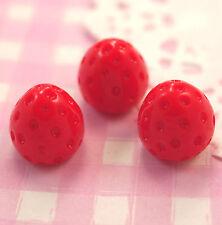 6 X Mignon 3D Red Strawberry Cabochons Perles Decoden KAWAII Kitsch-RU Vendeur