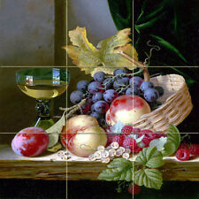 18 x 18 Art Wine Fruits Tumbled Marble Mural Bath Backsplash Tile #1815