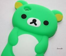 iPod Touch 4th Gen - SOFT SILICONE RUBBER GEL CASE COVER GREEN WHITE TEDDY BEAR